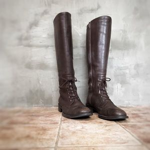 Tall Brown Leather Riding Boots with Laces